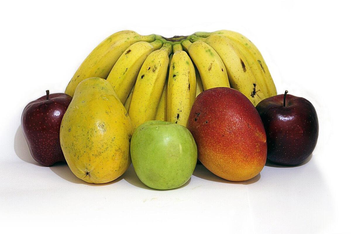 bananas, mango, apples and pears