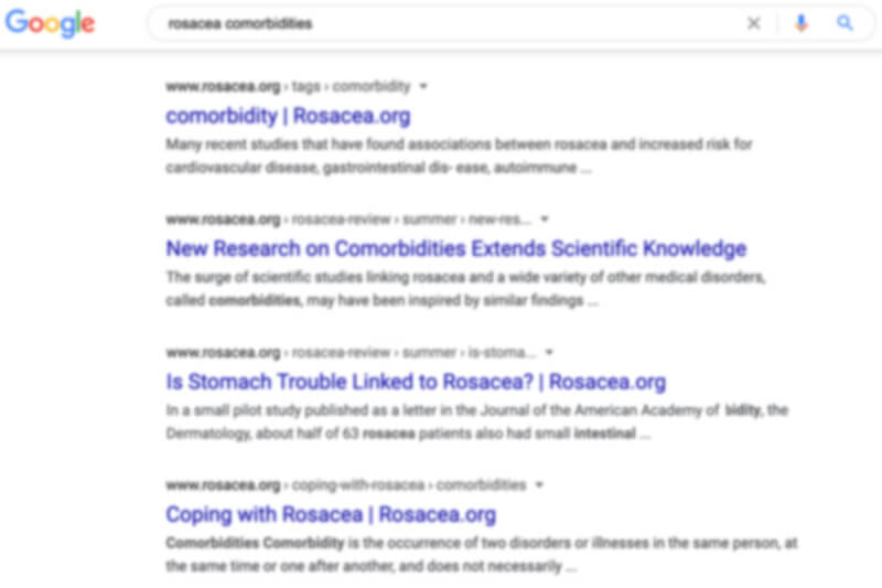 google search for rosacea comorbidities